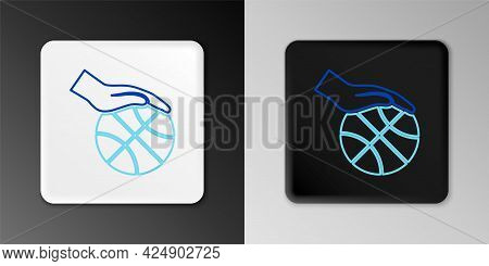 Line Hand With Basketball Ball And Basket Icon Isolated On Grey Background. Ball In Basketball Hoop.