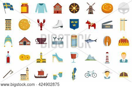 Sweden Icons Set. Flat Set Of Sweden Vector Icons Isolated On White Background