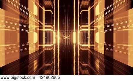 4k Uhd 3d Illustration Of Neon Tunnel