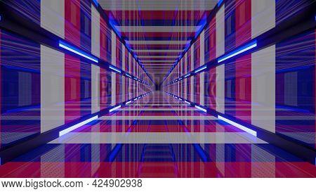 Vivid 4k Uhd 3d Illustration Of France Colored Tunnel