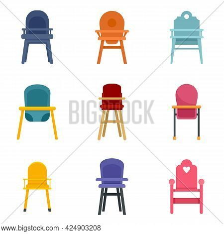 Feeding Chair Icons Set. Flat Set Of Feeding Chair Vector Icons Isolated On White Background