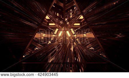 3d Illustration Of Triangle Tunnel In 4k Uhd
