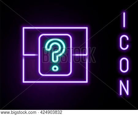 Glowing Neon Line Mystery Box Or Random Loot Box For Games Icon Isolated On Black Background. Questi