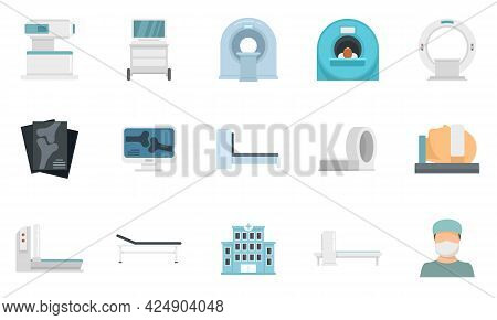 Magnetic Resonance Imaging Icons Set. Flat Set Of Magnetic Resonance Imaging Vector Icons Isolated O