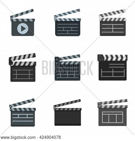 Clapper Icons Set. Flat Set Of Clapper Vector Icons Isolated On White Background