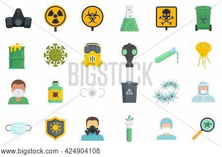 Biohazard Icons Set. Flat Set Of Biohazard Vector Icons Isolated On White Background