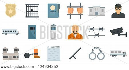 Prison Icons Set. Flat Set Of Prison Vector Icons Isolated On White Background