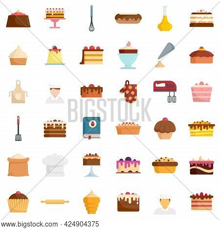 Confectioner Icons Set. Flat Set Of Confectioner Vector Icons Isolated On White Background