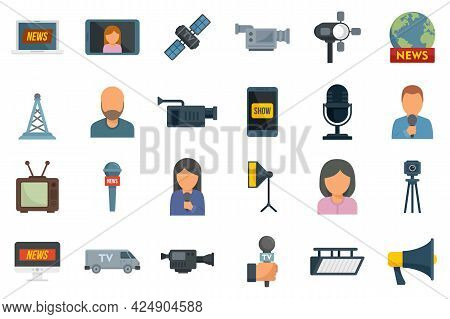 Tv Presenter Icons Set. Flat Set Of Tv Presenter Vector Icons Isolated On White Background