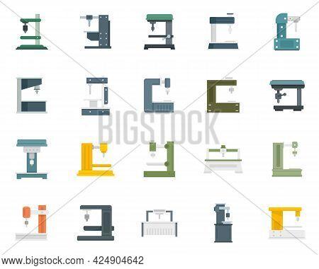 Milling Machine Icons Set. Flat Set Of Milling Machine Vector Icons Isolated On White Background