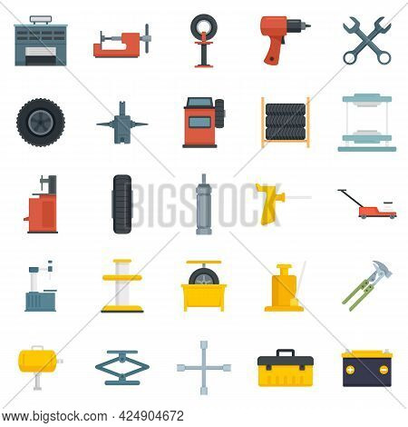 Tire Fitting Icons Set. Flat Set Of Tire Fitting Vector Icons Isolated On White Background