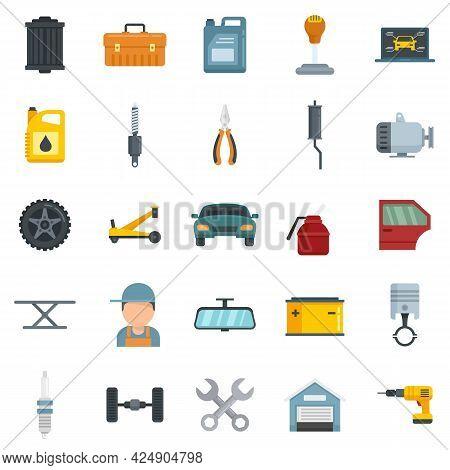 Auto Mechanic Icons Set. Flat Set Of Auto Mechanic Vector Icons Isolated On White Background