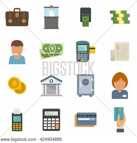 Bank Teller Icons Set. Flat Set Of Bank Teller Vector Icons Isolated On White Background