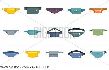 Waist Bag Icons Set. Flat Set Of Waist Bag Vector Icons Isolated On White Background