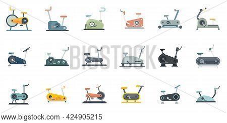 Exercise Bike Icons Set. Flat Set Of Exercise Bike Vector Icons Isolated On White Background