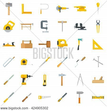 Carpenter Tools Icons Set. Flat Set Of Carpenter Tools Vector Icons Isolated On White Background