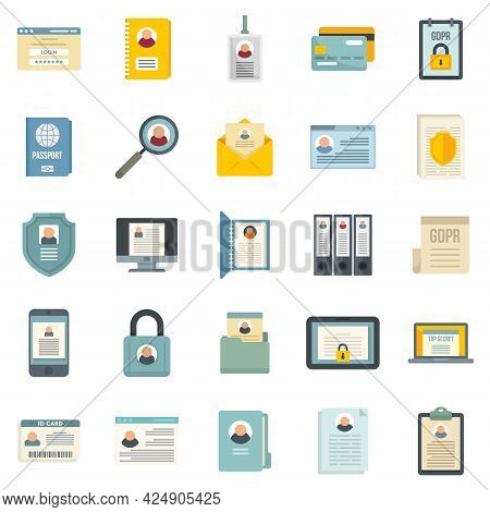 Personal Information Icons Set. Flat Set Of Personal Information Vector Icons Isolated On White Back