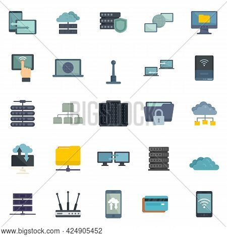 Remote Access Icons Set. Flat Set Of Remote Access Vector Icons Isolated On White Background