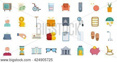Retirement Icons Set. Flat Set Of Retirement Vector Icons Isolated On White Background