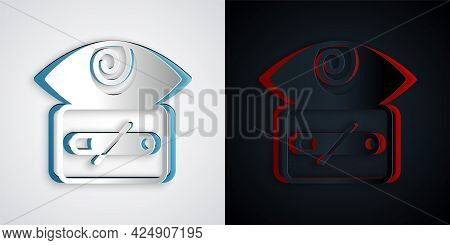 Paper Cut Hypnosis Icon Isolated On Grey And Black Background. Human Eye With Spiral Hypnotic Iris.