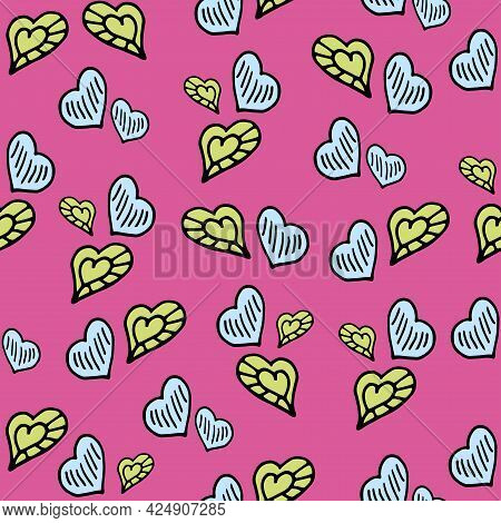 Seamless Pattern With Colorful Hand Drawn Hearts On A Pink Background. It Can Be Used For Decoration