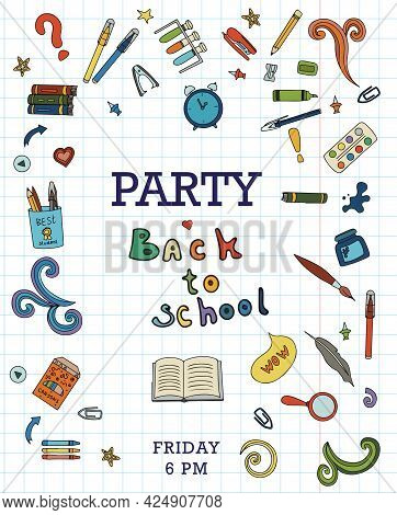 Back To School. Big Vector Doodle Set. Stationery For School, University And Office. Hand-drawn Scho