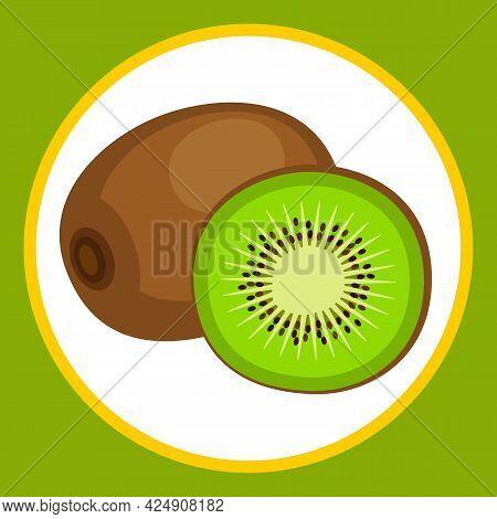 Drawn Stylized Whole And Cut Kiwi Fruit. Vector Illustration.