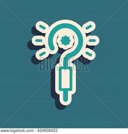 Green Magic Wand Icon Isolated On Green Background. Star Shape Magic Accessory. Magical Power. Long