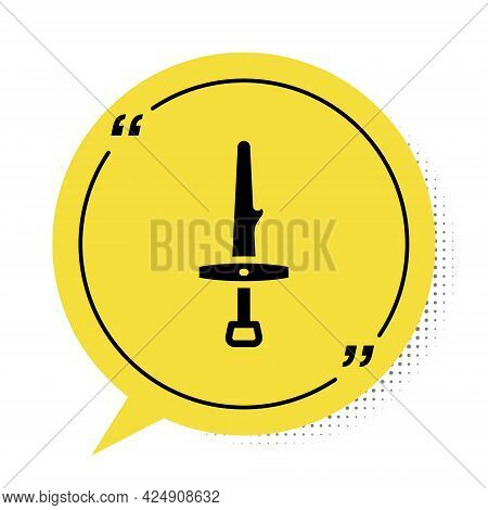 Black Dagger Icon Isolated On White Background. Knife Icon. Sword With Sharp Blade. Yellow Speech Bu