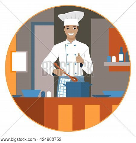 Smiling Chef In Cook Uniform With Ladle And Saucepan In The Kitchen. Vector Illustration.