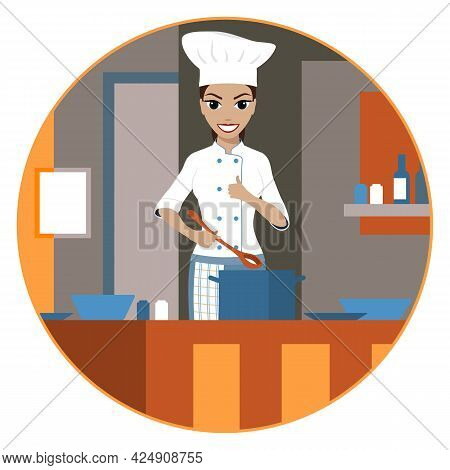 Smiling Female Chef In The Form Of A Cook With A Ladle And Saucepan In The Kitchen. Vector Illustrat