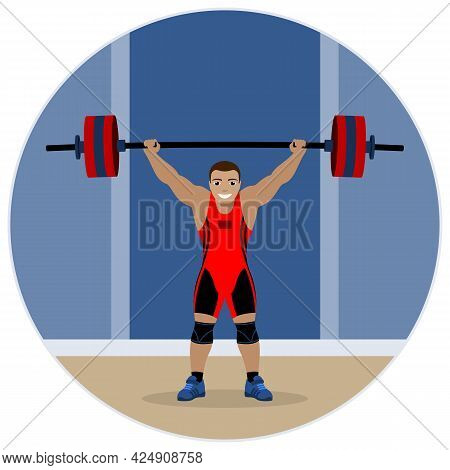 Strong Weightlifter Lifted The Barbell. Vector Illustration.
