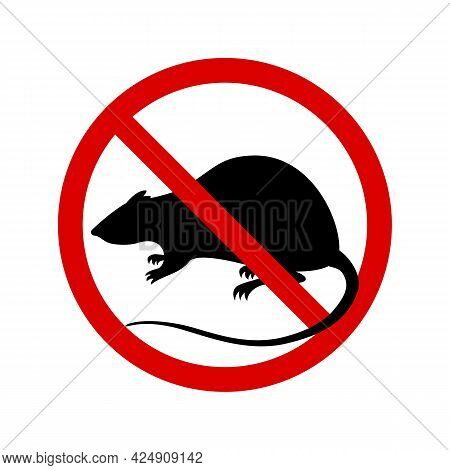 Warning Sign No Rats. Sign Rats Prohibition Isolated On White Background. Vector Illustration