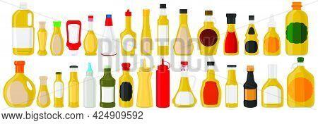 Illustration On Theme Big Kit Varied Glass Bottles Filled Liquid Sauce Curry