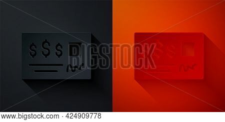 Paper Cut Blank Template Of The Bank Check And Pen Icon Isolated On Black And Red Background. Checkb