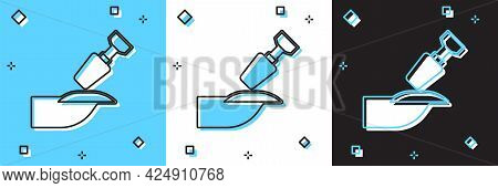 Set Milling Cutter For Manicure Icon Isolated On Blue And White, Black Background. Apparatus For Man