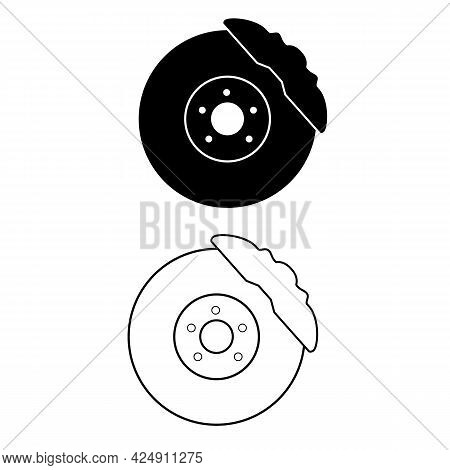 Car Brake Discs Icon On White Background. Car Parts Sign. Disc Brake Symbol. Flat Style.