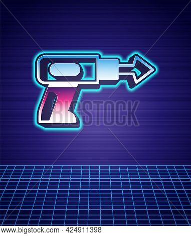 Retro Style Fishing Harpoon Icon Isolated Futuristic Landscape Background. Fishery Manufacturers For