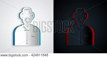 Paper Cut Football Or Soccer Commentator Icon Isolated On Grey And Black Background. Paper Art Style