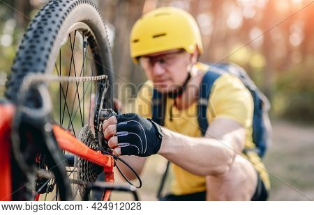 Cyclist checking chainwheel defect on upside down bicycle in forest