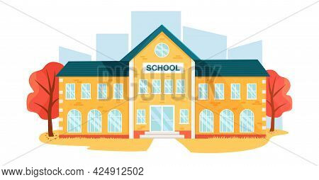 School Building In The Autumn Landscape. Back To School. Education Concept. Autumn Illustration In F