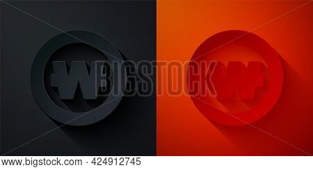 Paper Cut South Korean Won Coin Icon Isolated On Black And Red Background. South Korea Currency Busi
