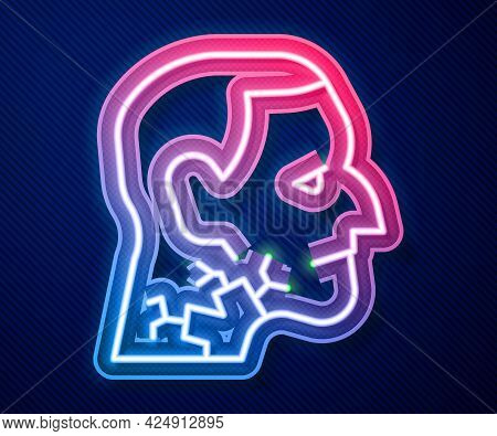 Glowing Neon Line Throat Cancer Icon Isolated On Blue Background. Laryngeal Cancer. Vector
