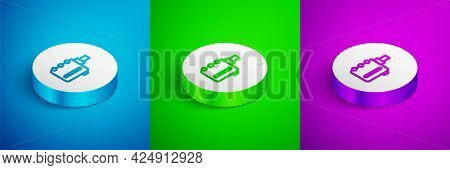 Isometric Line Electronic Cigarette Icon Isolated On Blue, Green And Purple Background. Vape Smoking