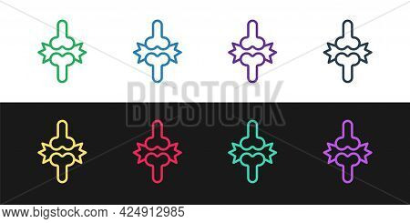 Set Line Joint Pain, Knee Pain Icon Isolated On Black And White Background. Orthopedic Medical. Dise