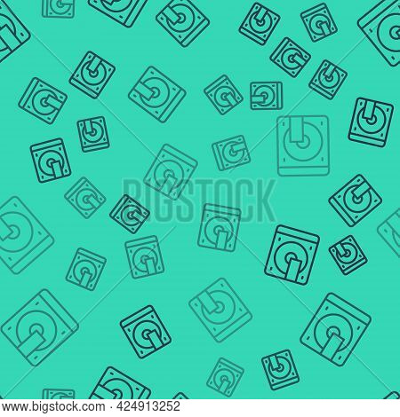 Black Line Vinyl Player With A Vinyl Disk Icon Isolated Seamless Pattern On Green Background. Vector