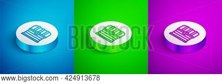 Isometric Line Antique Treasure Chest Icon Isolated On Blue, Green And Purple Background. Vintage Wo
