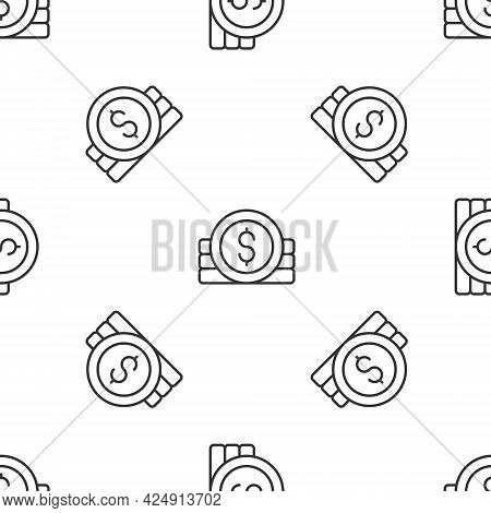 Grey Line Ancient Coin Icon Isolated Seamless Pattern On White Background. Vector
