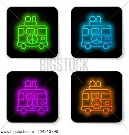 Glowing Neon Line Hippie Camper Van Icon Isolated On White Background. Travel By Vintage Bus. Touris