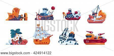 Cartoon Ships. Fairy Tale Boats. Marine Vessels. Isolated Cruise Yacht And Warship. Fantastic Sea Tr